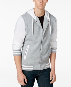 Work the preppy, collegiate look with this cozy colorblocked Ring of Fire hooded varsity jacket.