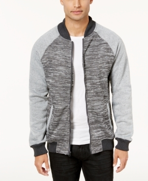 Layer your look in total style and comfort with this colorblocked zip-front jacket, with a ribbed baseball collar, from Ring of Fire.