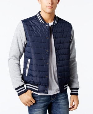 In a varsity style design, this Ring of Fire jacket features a quilted body and solid sleeves for a layered look without the extra bulk.