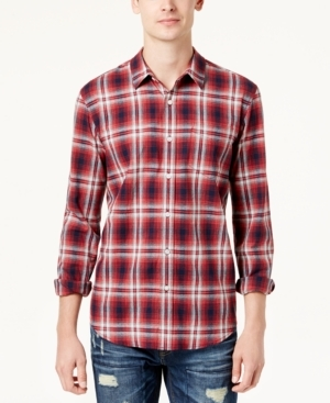 Great for layering, but excellent on its own as well, this plaid cotton shirt from American Rag comes in a modern slim fit for a flattering look.