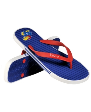 Play it cool wearing the Forever Collectibles thong sandals. This comfortable open shoe features the Kansas Jayhawks colors, logo and name for game-day spirit on hot summer days, and a lightweight Eva sole for weekend getaways.