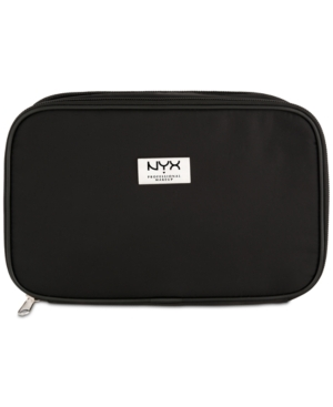 This black large double zipper signature Nyx Professional Makeup logo bag is perfect for carrying beauty essentials anywhere you go.