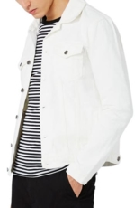 Topman, Men's White Denim Western Jacket