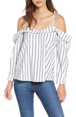 Leith, Women's Stripe Off The Shoulder Top