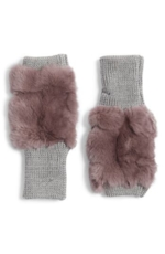 Jocelyn, Women's Jocelyn Genuine Rabbit Fur Fingerless Knit Mittens