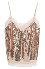 Soprano, Women's Lace Trim Sequin Camisole Top