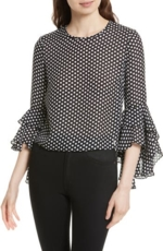 Milly, Women's Milly Gabby Dot Crepe Bell Sleeve Silk Top