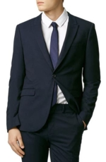 Topman, Men's Topman Skinny Fit Navy Blue Suit Jacket