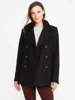 Old Navy, Womens Classic Wool-Blend Peacoat For Women Black