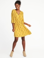 Old Navy, Womens Cinched-Waist Bell-Sleeve Dress For Women Yellow Print