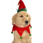 MyPartyshirt, Christmas Elf Hat and Collar Pet Dog Costume