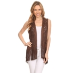 HIGH SECRET APPAREL, High Secret Womens Green/Brown Polyester Cutout Fringe Vest