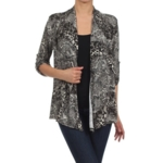 MOA Collection, Moa Collection Womens Leopard Print Open Front Cardigan