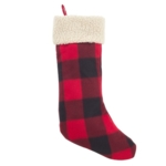 Saro, Classic Red And Black Buffalo Plaid Stocking With Sherpa Cuff