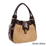Bueno of California, Bueno Womens Shenzi Straw and Animal Print Bag