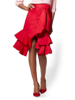 New York & Company, Red Poplin Wrap Skirt