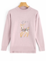 Zaful, Side Slit Deer Patched High Low Sweater
