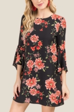 Blue Rain, Kaya Floral Bell Sleeve Shift Dress - Black