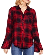 Vince Camuto, Stateside Plaid Bell Sleeve Shirt