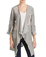 BILLY T, Frayed Floral Embroidered Jacket