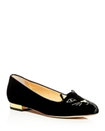 Charlotte Olympia, Kitty Embroidered Velvet Flats