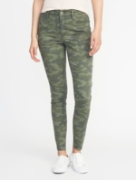 Old Navy, Womens Mid-Rise Camo-Print Raw-Edge Rockstar Ankle Jeans Camo