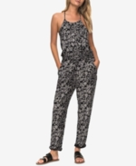 Roxy, Juniors' Printed T-Back Jumpsuit