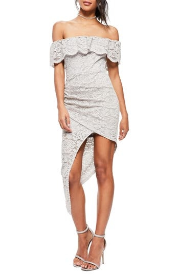 MISSGUIDED, Women's Missguided Off The Shoulder Asymmetrical Lace Dress