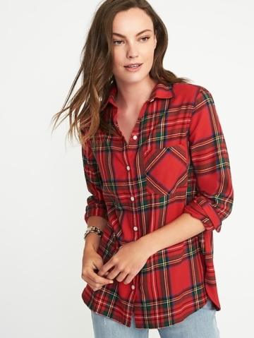 Old Navy, Womens Classic Flannel Shirt For Women Red Tartan