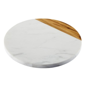 Meyer Corporation US, Anolon Pantryware White Marble / Teak Wood Serving Board, 10-Inch Round