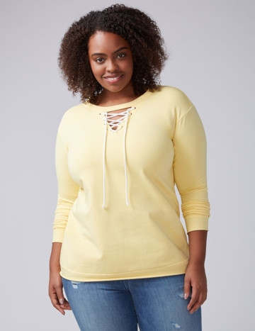 Lane Bryant, Women's Lace-Up Top 22/24 Misted Yellow
