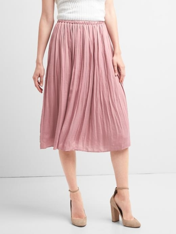 Gap, Womens Pleated Midi Skirt Princess Pink