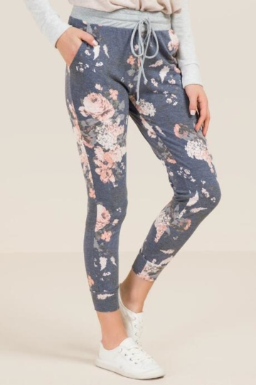 Mi Ami, Whit Floral French Terry Joggers - Navy
