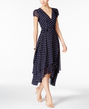 Betsey Johnson, Betsey Johnson Polka Dot Faux-Wrap Midi Dress